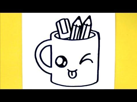 Comment dessiner tasse crayons kawaii dessin kawaii et facile - Chat a colorier kawaii ...