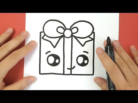 comment dessiner un cadeau de no l kawaii tutoriels pour. Black Bedroom Furniture Sets. Home Design Ideas