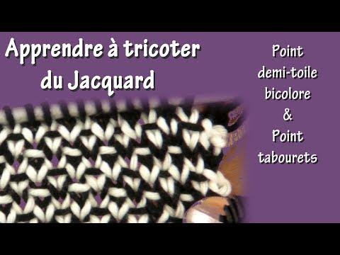 tuto tricot pour apprendre le jacquard point de demi toile bicolore et point de tabouret. Black Bedroom Furniture Sets. Home Design Ideas