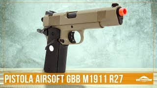 Testando a Pistola de Airsoft a Gás GBB Green Gas M1911 Full Metal R27  – Ventureshop