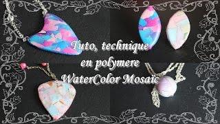 [♥ Tuto, technique en polymere ♥]  ✿ Watercolor Mosaïc ✿