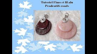 TUTO FIMO : Pendentifs ronds fil alu fimo et texture