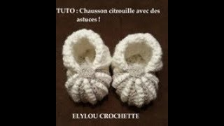 TUTO crochet : chausson citrouille, technique facile / crochet tutorial: pumpkin slipper